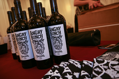 Close up of Angry Bunch wine bottles