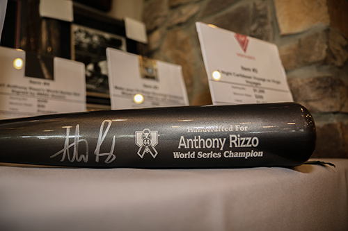 Baseball bat signed by Anthony Rizzo for auction