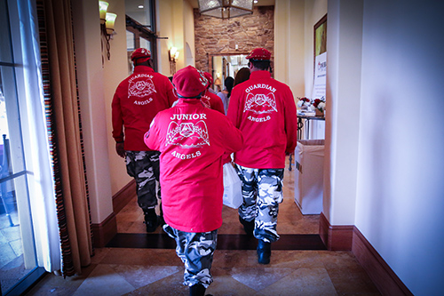 Guardian Angels back shot of red jackets