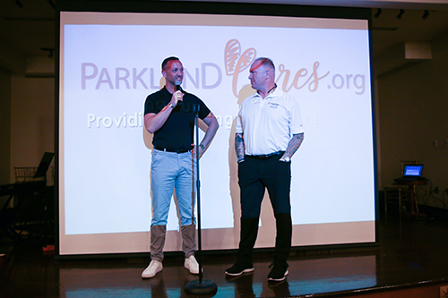Two men giving a speech at the Parkland Cares ceremony