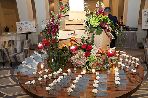 Table filled with flowers and place cards